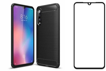Etui Pancerne KARBON Xiaomi Mi9 czarny + szkło 5D FULL GLUE