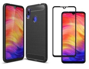 Etui Pancerne KARBON Xiaomi Redmi NOTE 7 czarny + szkło 5D FULL GLUE