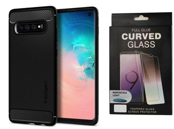 Etui Spigen Rugged ARMOR Samsung GALAXY S10 PLUS czarny +szkło 5D UV