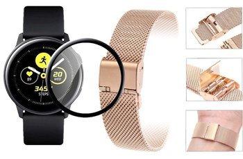 Opaska pasek bransoleta Milanese band z zapięciem Samsung Galaxy WATCH Active 2 44mm rose gold +szkło 5D