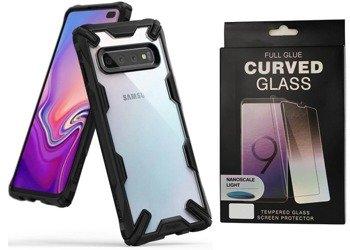 Ringke Fusion X etui pancerny pokrowiec z ramką Samsung Galaxy S10 Plus czarny (FUSG0010) +szkło 5D UV