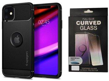 Spigen Rugged Armor wzmocnione etui pokrowiec iPhone 11 czarny (065CS25125) +szkło 5D UV
