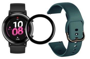 opaska pasek bransoleta GEARBAND Huawei Watch GT 2 42MM ciemny zielony + szkło 5D