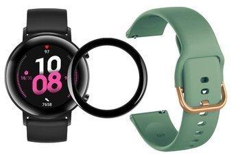 opaska pasek bransoleta GEARBAND Huawei Watch GT 2 42MM zielony + szkło 5D