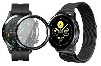 opaska pasek bransoleta MILANESEBAND Huawei Watch GT 2 46MM BLACK +szkło 3D