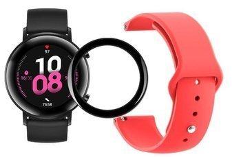 opaska pasek bransoleta SMOOTHBAND Huawei Watch GT 2 42MM czerwona + szkło 5D