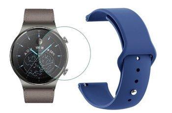 opaska pasek bransoleta SMOOTHBAND Huawei Watch GT 2 PRO 46mm granatowa +szkło hartowane na ekran