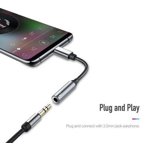 Adapter USB Typ C do 3.5mm minijack Przejściówka ROCK Audio Converter Wersja A czarny
