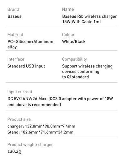 Baseus Rib bezprzewodowa indukcyjna ładowarka Qi 15W z podstawką biały (WXPG-02)