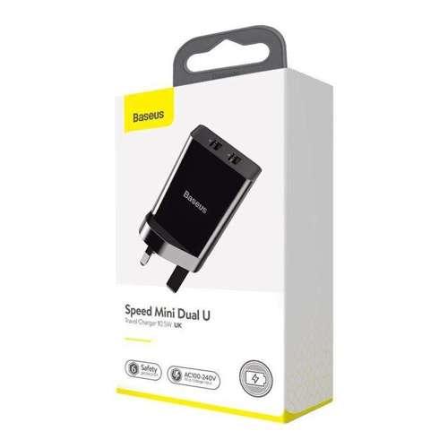 Baseus ładowarka sieciowa 2x USB 2.1A 10,5W (wtyczka UK) czarny (CCFS-S01)