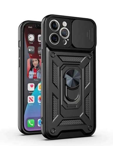 CAM SLIDER RING pancerne hybrydowe etui pokrowiec + magnetyczny uchwyt + ochrona aparatu Samsung Galaxy A22 5G czarny