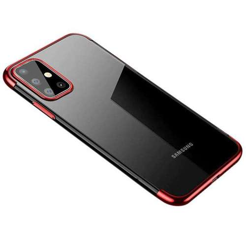 Clear Color case żelowy pokrowiec etui z metaliczną ramką Samsung Galaxy A71 czerwony