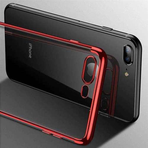 Clear Color case żelowy pokrowiec etui z metaliczną ramką iPhone 8 Plus / iPhone 7 Plus czerwony