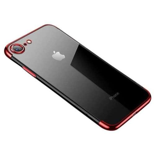 Clear Color case żelowy pokrowiec etui z metaliczną ramką iPhone SE 2020 / iPhone 8 / iPhone 7 czerwony