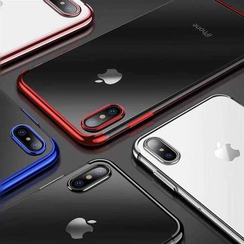 Clear Color case żelowy pokrowiec etui z metaliczną ramką iPhone XS / iPhone X czarny