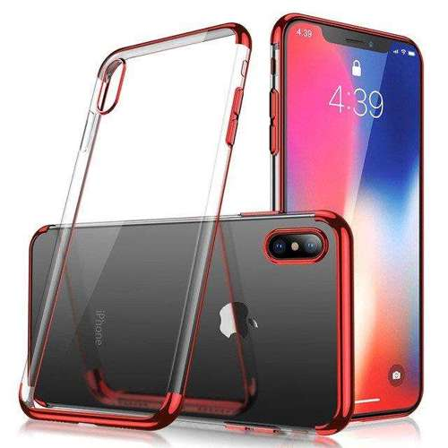 Clear Color case żelowy pokrowiec etui z metaliczną ramką iPhone XS / iPhone X czerwony