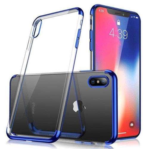 Clear Color case żelowy pokrowiec etui z metaliczną ramką iPhone XS / iPhone X niebieski