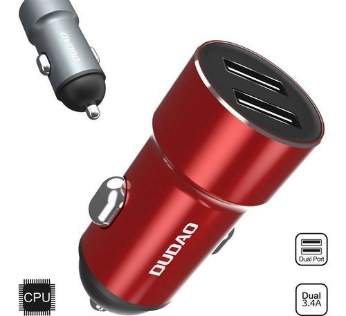 Dudao 2.4A inteligentna ładowarka samochodowa 2x USB czerwony (R6 red)