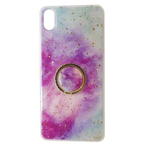 Etui IPHONE 11 Marble Ring fioletowo-niebieskie