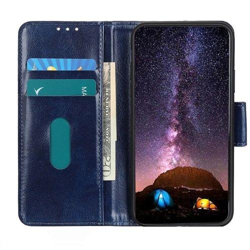 Etui Samsung Galaxy A51 Skórzane z klapką portfel Flip Magnet niebieskie