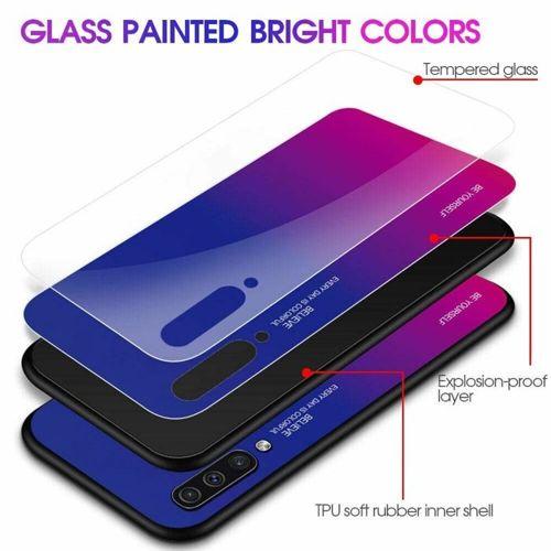 Etui Szklane Glass case Gradient SAMSUNG GALAXY A20E czarno-niebieskie