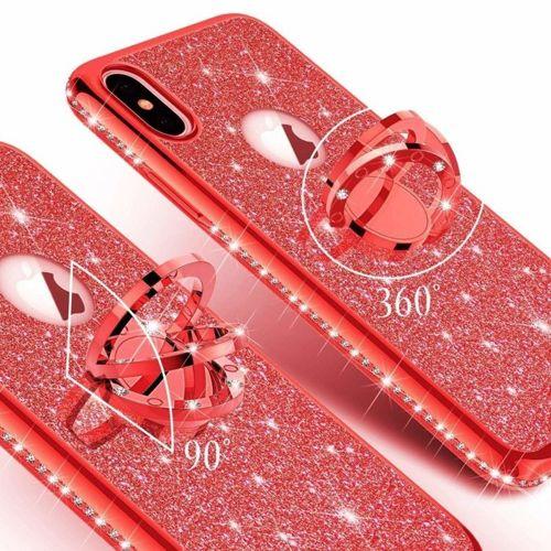 Etui XIAOMI REDMI 8A Diamond Ring Brokat czerwone
