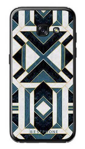 Etui art deco turkusowo-białe na Samsung Galaxy A3 2017