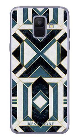 Etui art deco turkusowo-białe na Samsung Galaxy A6