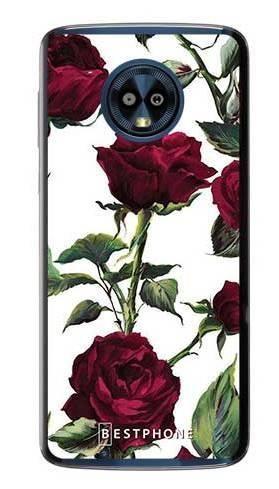 Etui czerwone róże na Motorola Moto G6