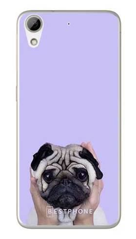 Etui mops na fioletowym tle na HTC Desire 626