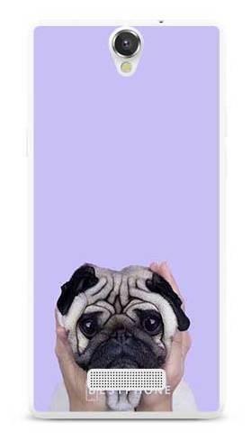 Etui mops na fioletowym tle na MyPhone Cube