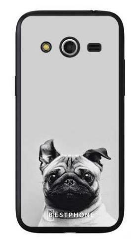 Etui mops na szarym tle na Samsung Galaxy Core LTE