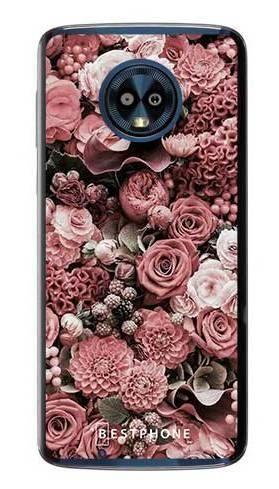 Etui różowa kompozycja kwiatowa na Motorola Moto G6