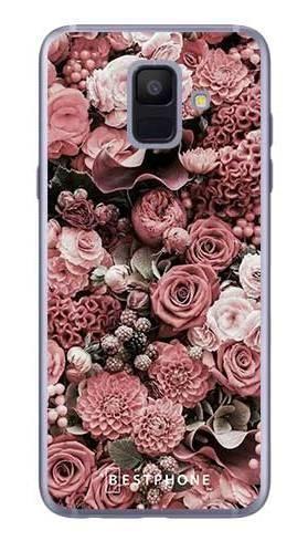Etui różowa kompozycja kwiatowa na Samsung Galaxy A6