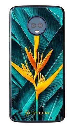 Etui żółty kwiat i liście na Motorola Moto G6 Plus