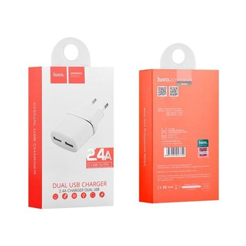 HOCO C12 2-PORT NETWORK CHARGER WHITE