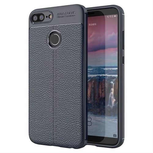 Litchi Pattern elastyczne etui pokrowiec Huawei Honor 9 Lite niebieski