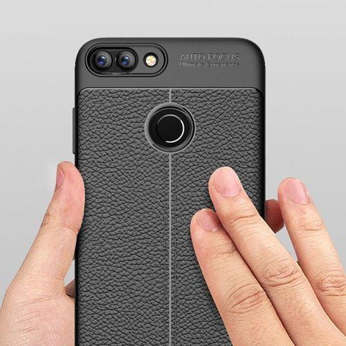 Litchi Pattern elastyczne etui pokrowiec Huawei P Smart niebieski