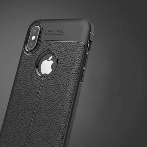 Litchi Pattern elastyczne etui pokrowiec iPhone XS / X niebieski
