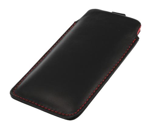 Pionowa skórzana wsuwka Vena NOKIA 5230 czarna (czerwony środek)