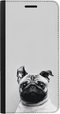 Portfel DUX DUCIS Skin PRO mops na szarym tle na Samsung Galaxy A70