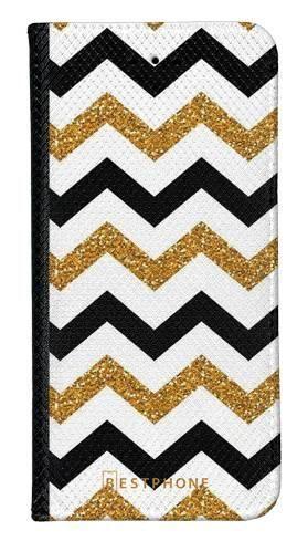 Portfel Wallet Case LG G8 ThinQ złoto czarny szlaczek