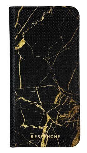 Portfel Wallet Case LG K40 czarno złoty marmur