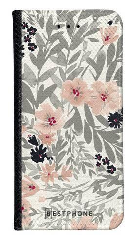 Portfel Wallet Case LG K40 szare kwiaty