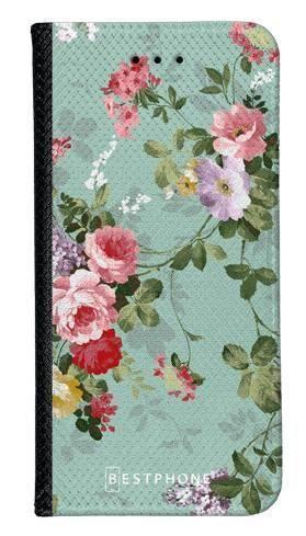 Portfel Wallet Case Samsung Galaxy A20e zielone kwiatki