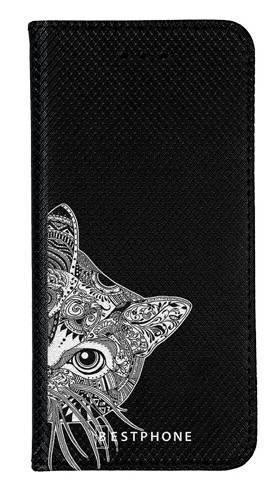Portfel Wallet Case Samsung Galaxy A60 biało czarny kot