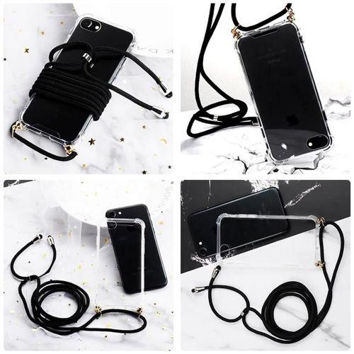 Rope case żelowe etui ze smyczą torebka smycz Huawei Mate 20 Lite przezroczysty