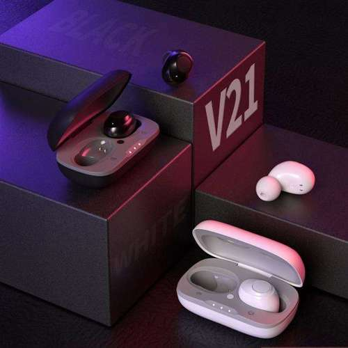 WK Design dokanałowe bezprzewodowe słuchawki Bluetooth 5.0 TWS biały (TWS-V21 white)