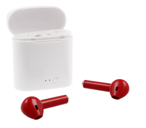 Zestaw słuchawkowy bezprzewodowy słuchawki Bluetooth 4.2 I7s  TWS czerwone