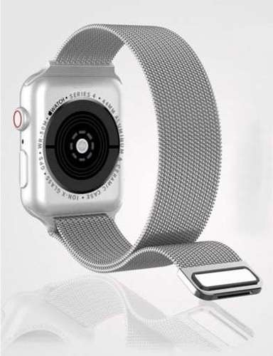 opaska pasek bransoleta MILANESEBAND Apple Watch 4/5/6/SE 40mm srebrna +szkło 5D